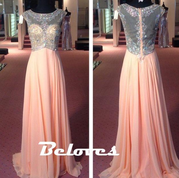 Prom Dress, Pink Dress, Sheer Dress, Chiffon Dress, Beaded Dress, Dress With Sleeves, Pink Prom Dress, Prom Dress With Sleeves, Pink Chiffon Dress, Dress Prom, Pearl Dress