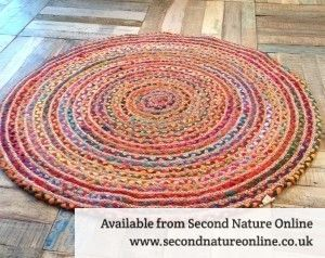 Fair Trade Braided Round Rug In Multi Coloured Cotton And Jute Or Diameter