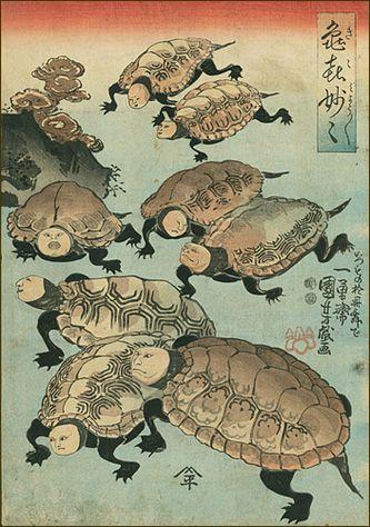 Right panel triptych, 'Strange and Wondrous Immortal Turtles (Kiki myômyô),' 1848, by Japanese artist & master printmaker Utagawa Kuniyoshi (1797-1862). Woodblock print. via kuniyoshi project