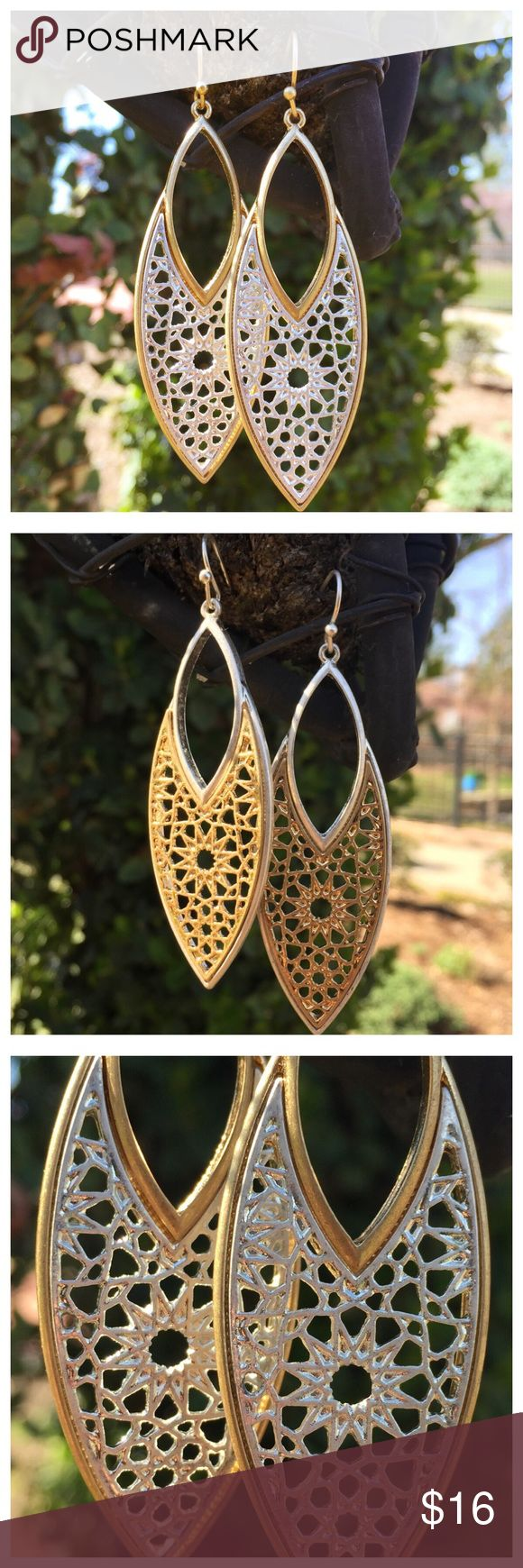 """Gold or Silver Filigree Drop Fashion Earrings Goldtone or  Silvertone Filigree Drop Fashion Earrings --- Distressed finish --- Light/Medium weight --- 2.75"""" Drop --- 0.75"""" width --- The last picture shows the gold color Boutique Jewelry Earrings"""