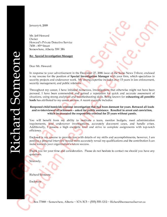 law enforcement professional cover letter example