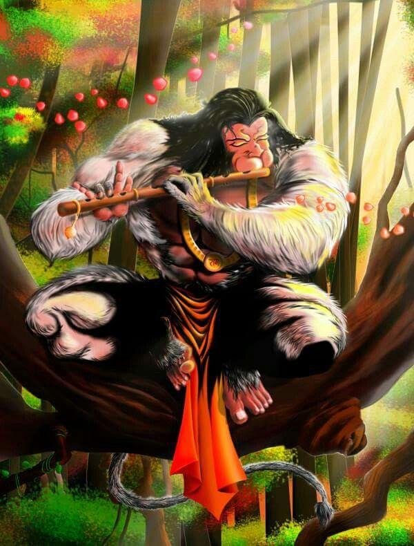 Hanuman playing flute