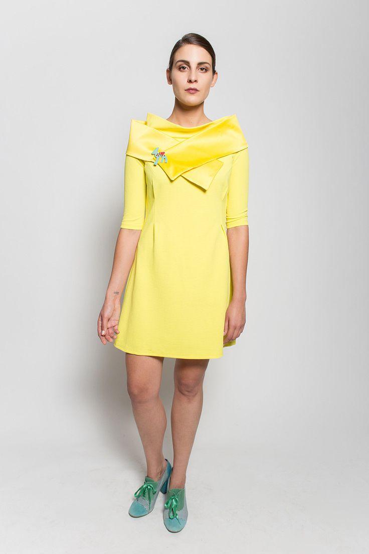 #lafemmemimi #fashion #prague #autumn #winter #2015 #lookbook #yellow #dress #scarf
