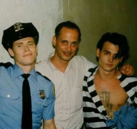Willem Dafoe, John Waters and Johnny Depp on the set of Cry-Baby (1990)
