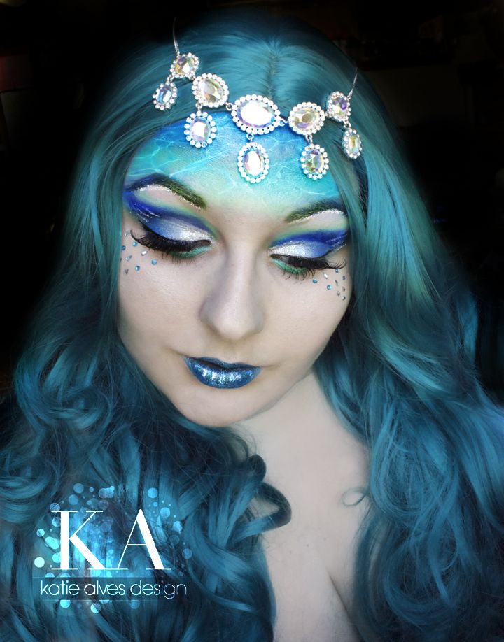 """Crystals accent a """"ocean of make-up""""... Water Nymph by KatieAlves on deviantART."""