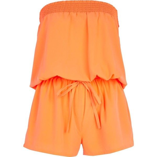 River Island Bright coral bandeau waisted playsuit (185 EGP) ❤ liked on Polyvore featuring jumpsuits, rompers, playsuits, dresses, macacão, river island, sale, bandeau bikini tops, red bandeau top and bandeau tops