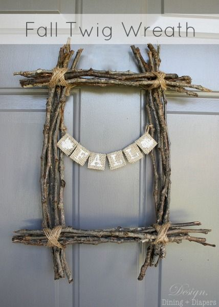 Rustic Fall Twig Wreath Tutorial! - such an easy addition to your front door Fall Home Decor! #wreaths