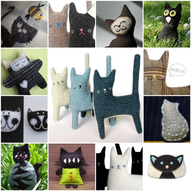 Felted cats inspiration board (inspiration from Etsy)