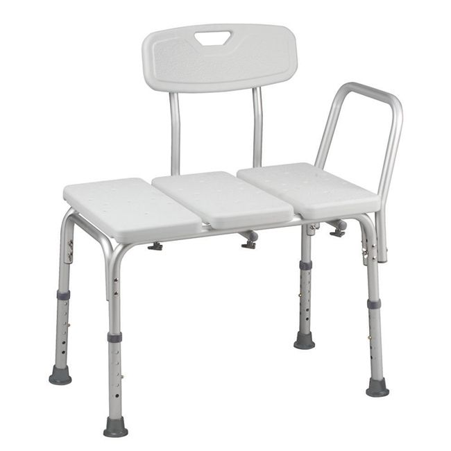 Ideal for those needing a seat in the shower, this adjustable transfer bench features a rust-resistant frame of plastic and aluminum. It is equipped with slip-resistant, rubber tips for safety and its seat has drain holes so it dries well between uses.