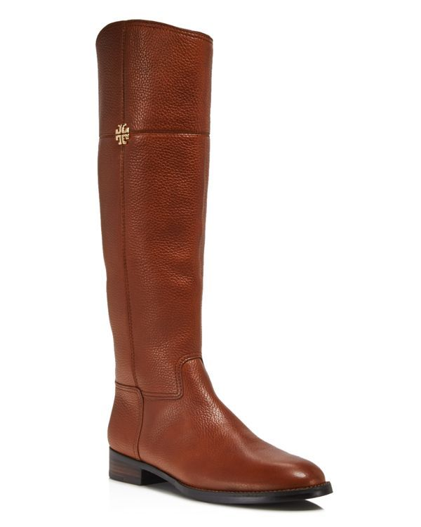 Universally flattering in pebbled leather, Tory Burch's clean-lined riding boots look equally polished with your mainstay denim, leggings and dresses. | Pebbled leather upper, leather lining, rubber s