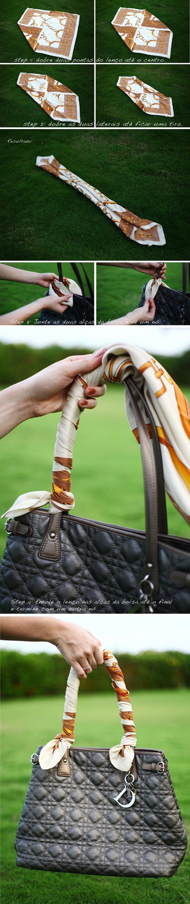 arramando lenço na alça da bolsa.