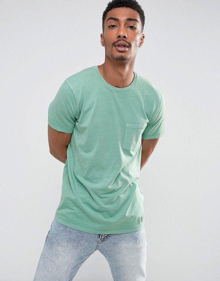 Abercrombie & Fitch Pocket T-Shirt Slim Fit Garment Dye in Green