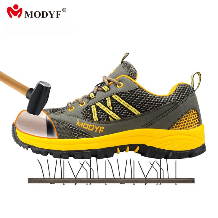 Modyf summer for Men mesh upper breathable steel toe cap shoes outdoor hiking boots puncture proof skidproof protection shoes #Affiliate