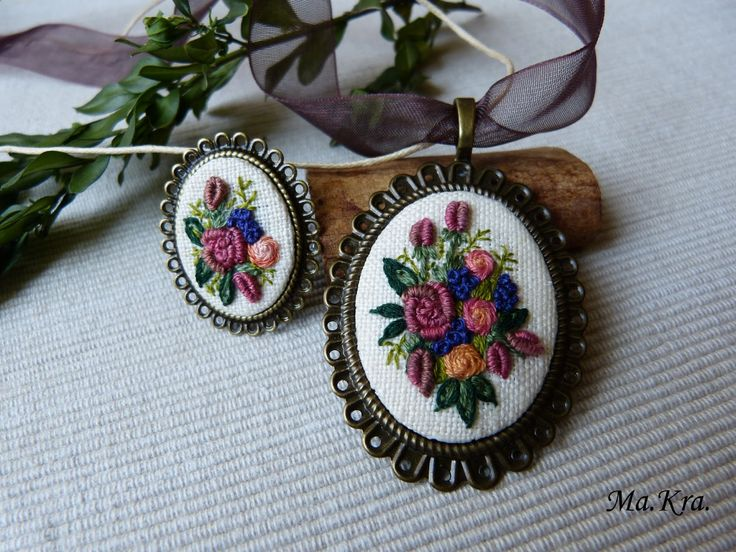 komplet z haftem, Embroidered Pendant Necklace