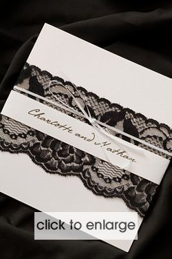 Black and White Chantilee Invitation - Wedding Invitations & Stationery