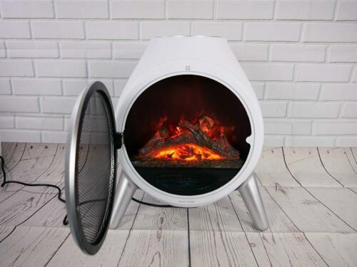 Tremendous White Round 1 8Kw Flame Effect Heater Electric Log Fire Download Free Architecture Designs Parabritishbridgeorg