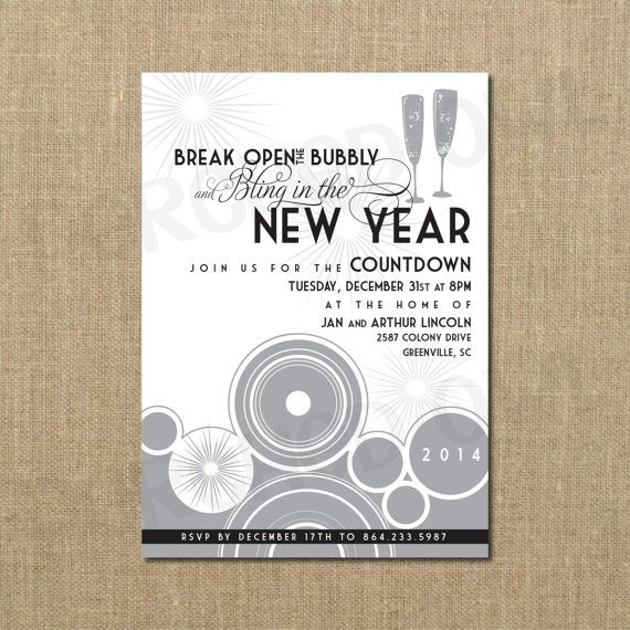 bling in the new year celebration invitation digital file
