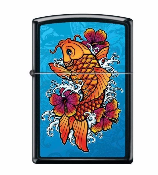 "Zippo Lighter - ""Hibiscus Blue Koi Fish in Black Matte 218 "". •Fill with Zippo premium lighter fluid. •Made in the USA. 