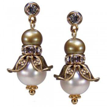 Romantische Ohrringe in Blütenform mit echten Perlen | Perlotte Schmuck