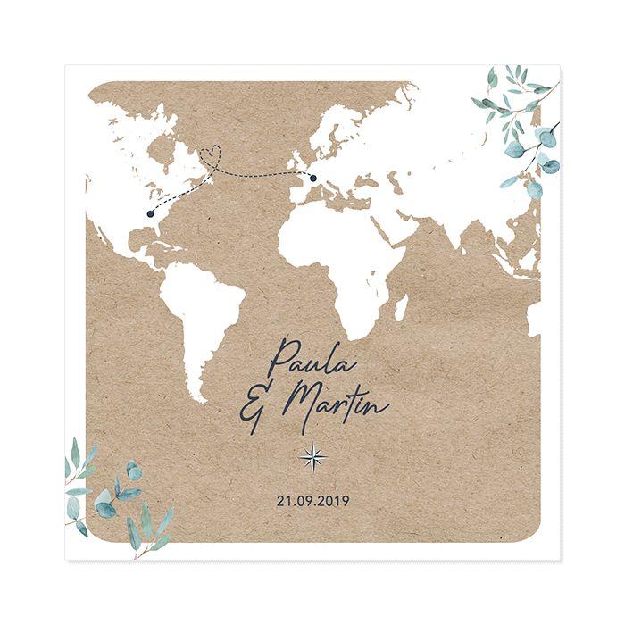 Faire-part mariage Voyage International – Invitation Livret carré