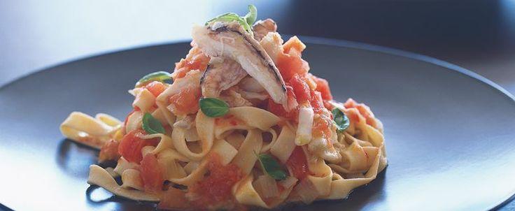 Matt Moran recipe: Tagliatelle with Blue Swimmer Crab and Tomato and Chilli Salsa, on MiNDFOOD.