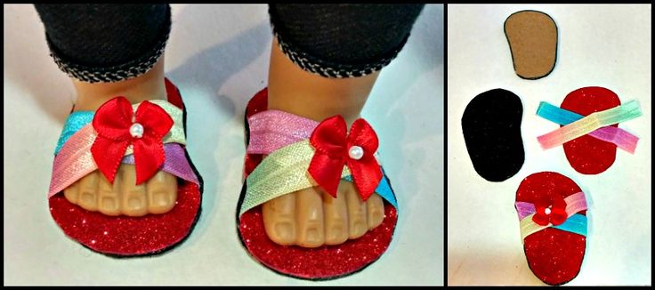 ** Make Your Own Doll Shoes. Includes duct tube pics.