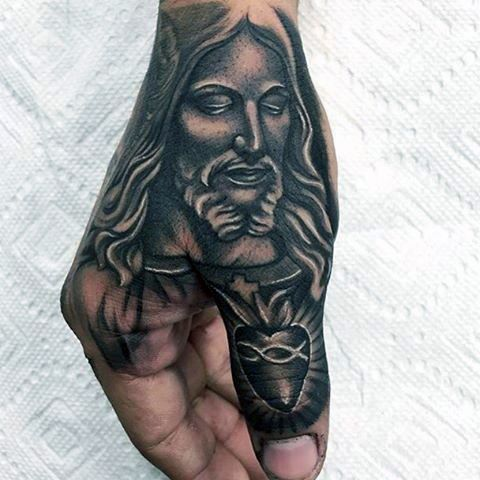 Manly Thumb And Hand Mens Jesus Sacred Heart Tattoo