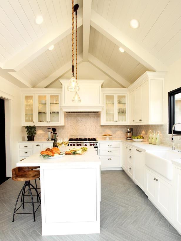 Vaulted Ceiling - White Farmhouse Kitchen on HGTV