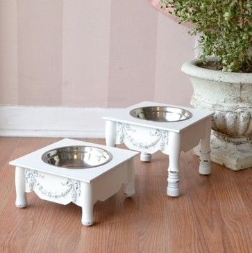 French Style Chic Single Bowl Pet Feeder - White - Available in 2 sizes! mediterranean pet accessories
