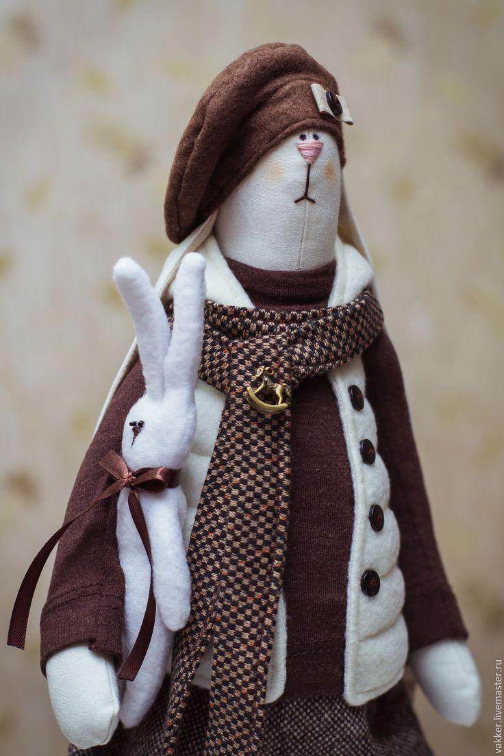 Купить Текстильный заяц - коричневый, текстильный заяц, тильда заяц, мягкая игрушка зайка