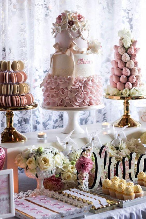 Pink Ivory Vintage Christening Dessert Table Kiara