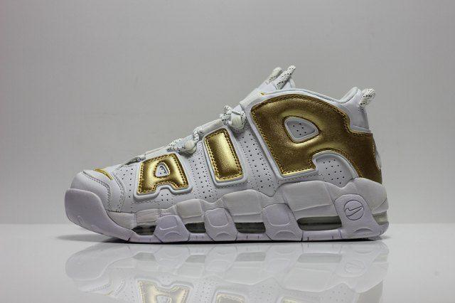 free shipping e1802 7346a Nike Air More Uptempo White Gold Men s Basketball Shoes - Shoesimart.com