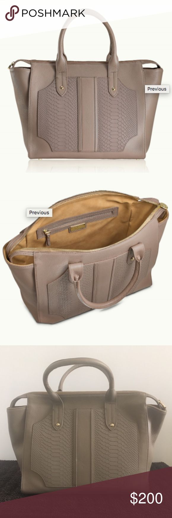 """NEW GiGi New York Gates Satchel in Stone - Originally priced at $475 - Never used - Includes dust bag - Color - Stone - Natural Grain/Embossed Python Leather  - Large interior zipped pocket and two interior slip pockets  - Protective metal feet  - Double top handles with 5 1/2 """" drop  - Size: 13 """" W x 11 """" H x 5 """" D - From a non-smoking, pet free home - NOTE: There are a few subtle small indentations on the bag, which I have tried to show in the close up picture; these must have been on the…"""