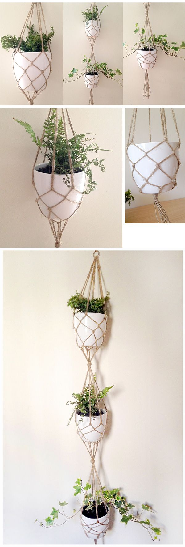 DIY VERTICAL PLANT HANGER. I really love macramé plant hangers - they're a great way to add some green to the home and are perfect for growing herbs or even your own edible flowers...