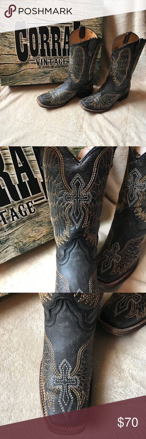 Corral vintage cowgirl boots Coral vintage cowgirl boots with cross and wing prints in perfect condition only used 3-4 times Corral Vintage Shoes Boots