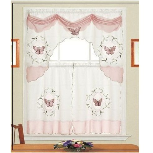 "Daniel's Bath & Beyond Fly Pink Kitchen Curtain Set by HLC.ME. $7.99. Daniel's Bath & Beyond Fly Pink Kitchen Curtain Set - Our Kitchen Curtains are expertly tailored and add an elegant touch to any Kitchen. (Curtain Rods Not Included) Fabric Made of 100% Polyester Wash Warm separately, Gentle Cyle No Chlorine Bleach Line or Tumble Dry Medium Iron. What's Included: 1x Daniel's Bath & Beyond Fly Pink Kitchen Curtain Swag Valance 36"" x 60"" Inches (top curtain) 2x Daniel's Bath ..."