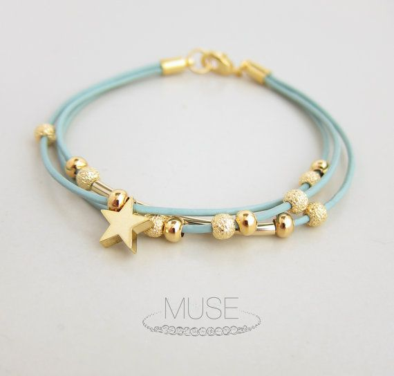 Leather Charm Bracelet - Gold Star Charm Bracelet, Layered Bracelet, Gold Bar Bracelet, Stardust Beads, Pastel Blue Cord Bracelet - Stardust...