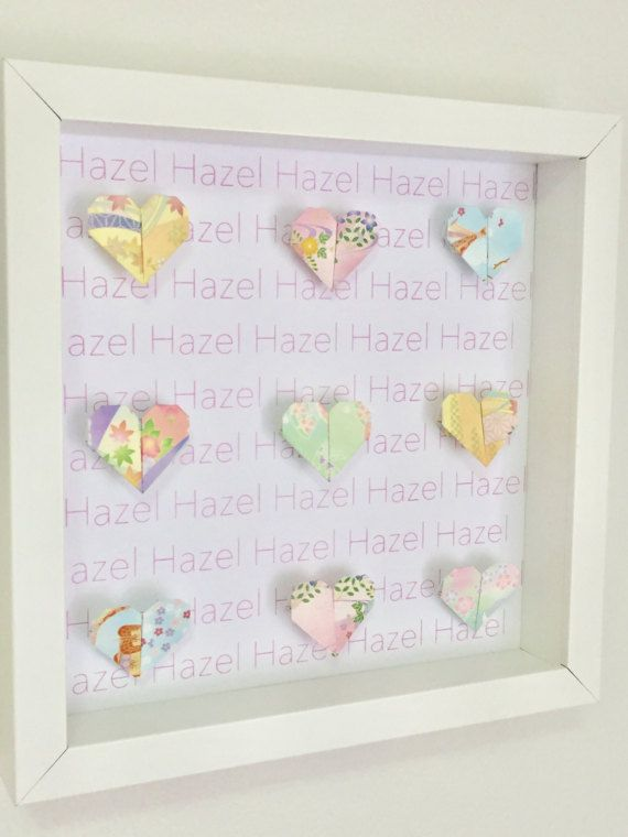 Personalised pastel heart origami wall frame by OzigamiDesigns