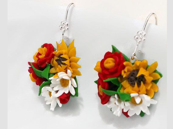 Summer bouquet. Earrings made of polymer clay. Han from Jewelry exclusive  by DaWanda.com