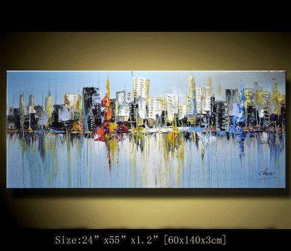 Original abstrakte Malerei, moderne nicht glatt Malerei, Spachtel Stadtansicht, Home Decor, Gemälde Öl auf Leinwand von Chen n106
