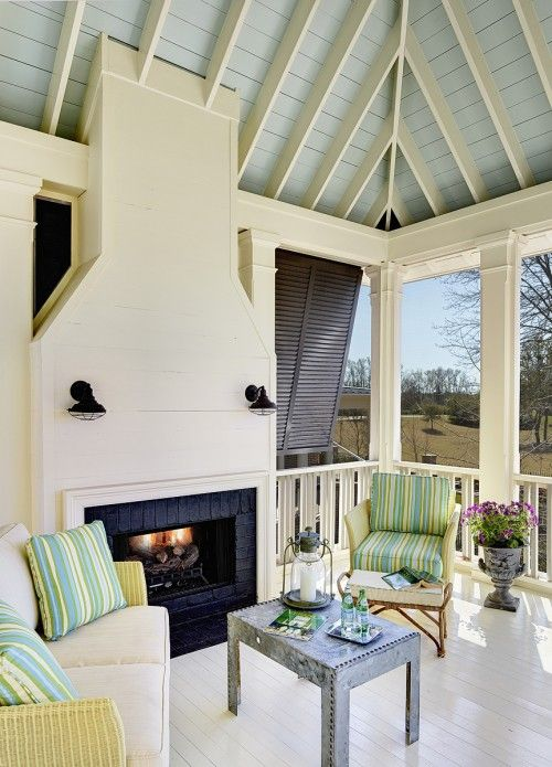Traditional Charleston blue ceiling porch. Structures Building Company.: Home Tours, Paintings Ceilings, Screens Porches, Covers Patio, Back Porches, Outdoor Fireplaces, Outdoor Spaces, Houses Tours, South Carolina