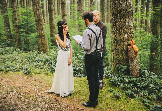 A Romantic Elopement in the Woods: Laura + Nick || I must admit, getting married alone in the forest sounds quite lovely. This is also quite possibly one of the best wedding videos I've seen, even if only because it took place on a mountain...