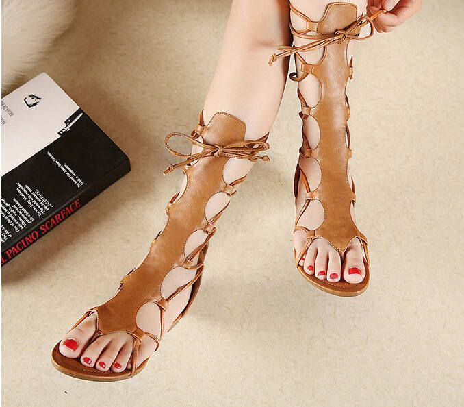 Knee High Hollow Out Leather Gladiator Sandals - Uniqistic.com
