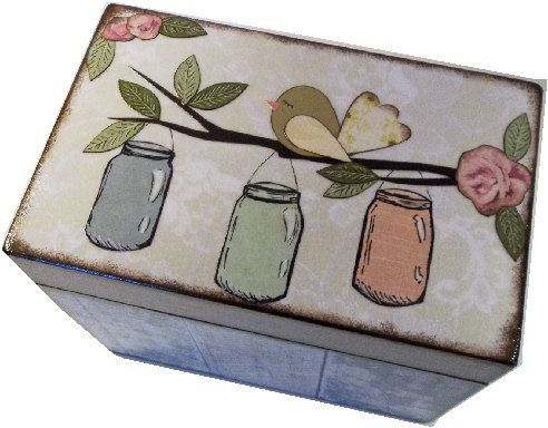 Recipe Box, Rustic Burlap Lace Mason Jar Box, Holds 4x6 Cards, Storage and Organization, Wedding Recipe Box, Guest Book Box MADE To ORDER