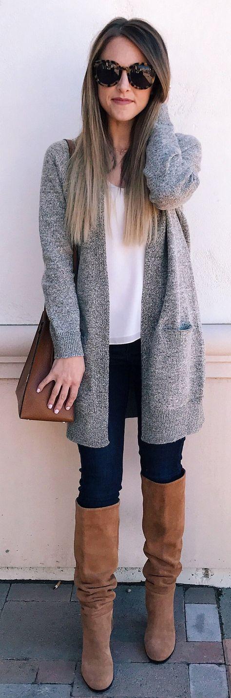 #winter #fashion / Grey Cardigan / Brown OTK Boots / Black Skinny Jeans / White Top / Brown Leather Shoulder Bag