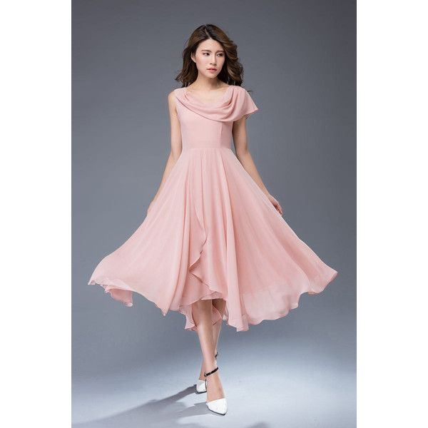 Pink chiffon dress-prom dress-maxi dress-party dress C943 ($109) ❤ liked on Polyvore featuring dresses, pink dress, maxi length dresses, pink maxi dress, pink chiffon dresses and chiffon prom dresses
