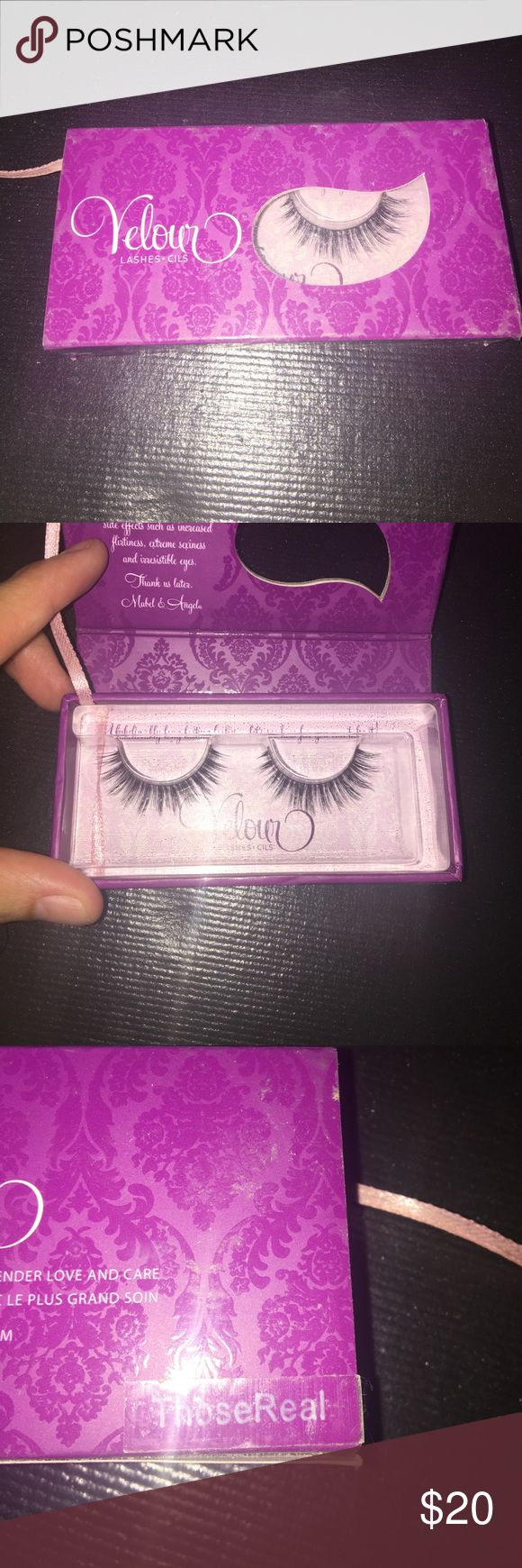 Brand new Velour lashes in THOSE REAL! Never been worn.. Still in box! THOSE REAL! Shoot me an offer! Velour Lashes Makeup False Eyelashes