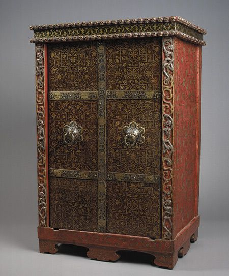 Ritual Cabinet,18th century  Tibet  Lacquer and gilt on wood with metal additions