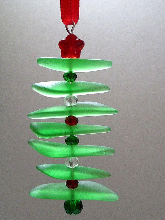 Recycled Sea Glass Ornament ~ Green and Red Seaglass Christmas Tree Ornament ~ Beach Christmas ~ Nautical ~ Coastal Christmas ~ Cape Cod