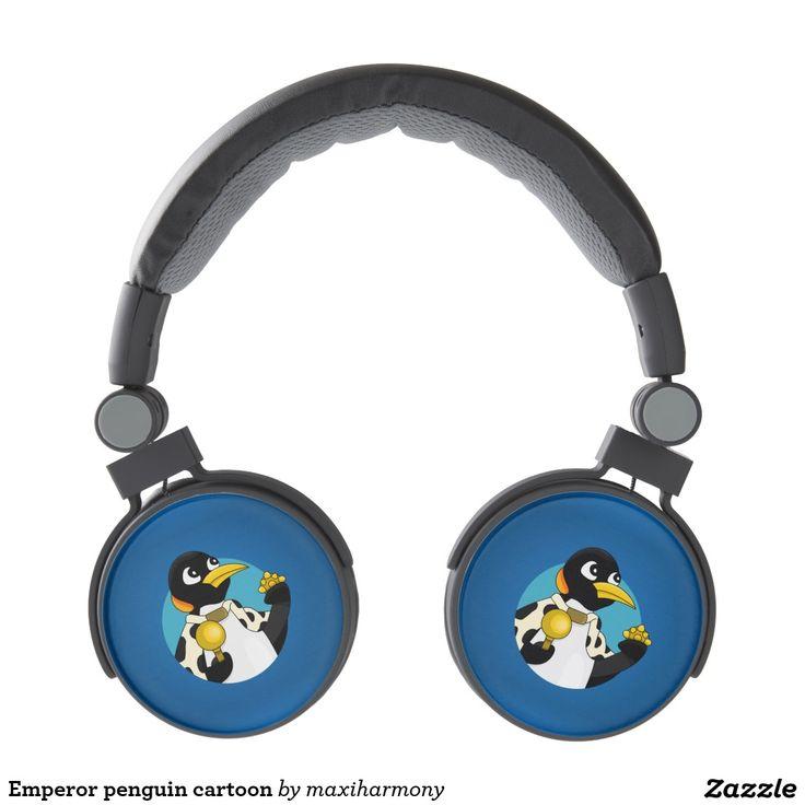 Emperor penguin cartoon headphones